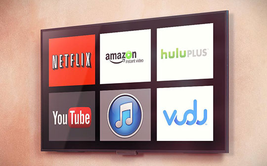streaming devices tv with streaming services logos