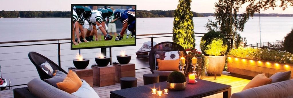 outdoor patio fire pit tv