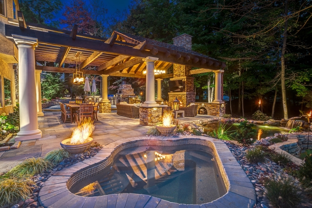 Luxury patio with fire pit