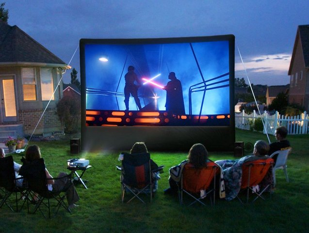 Inflatable portable outdoor theater